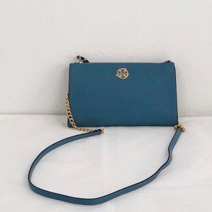 Tory Burch mini Everly blue leather crossbody bag